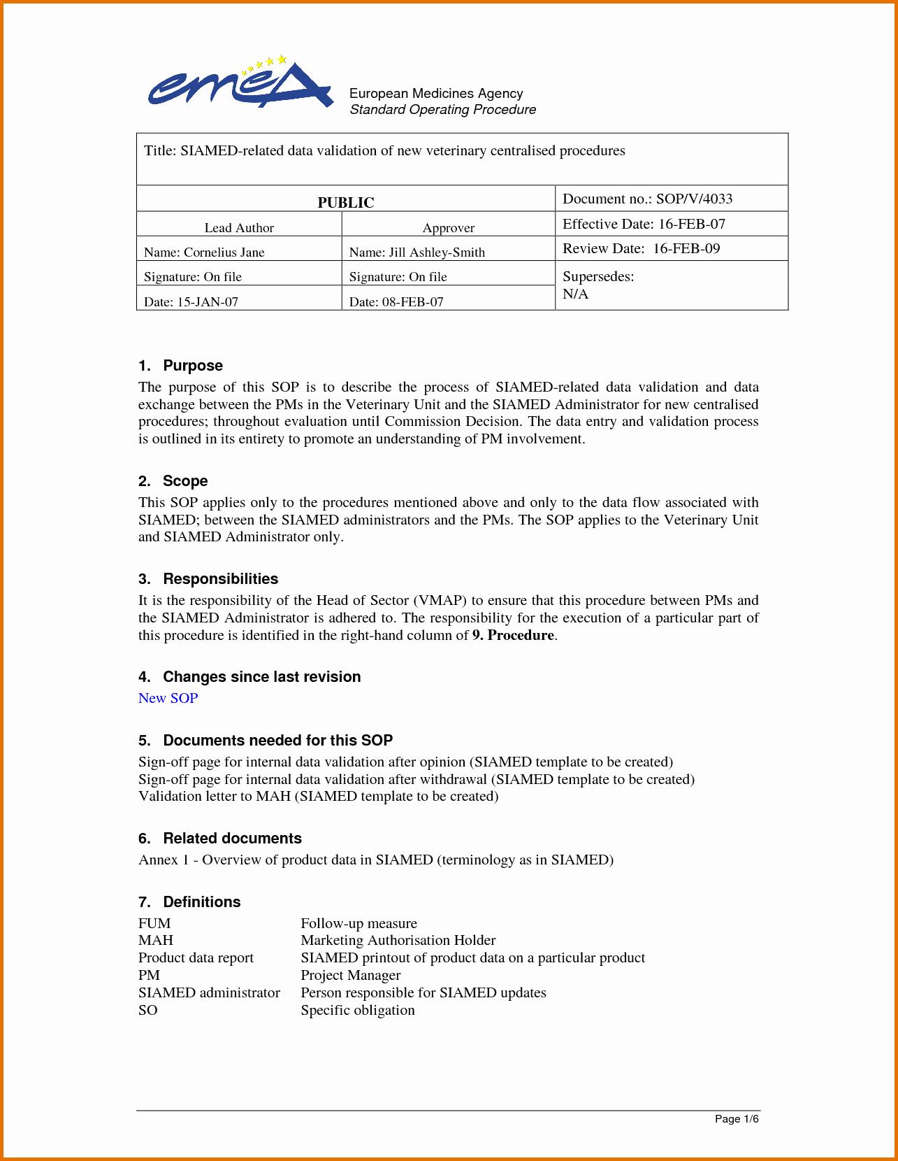 Standard Operating Procedures Template Word Beautiful 6 Standard Operating Procedure Template Wordreference
