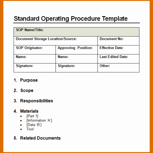 Standard Operating Procedures Template Word Elegant 11 Standard Operating Procedure Template Word