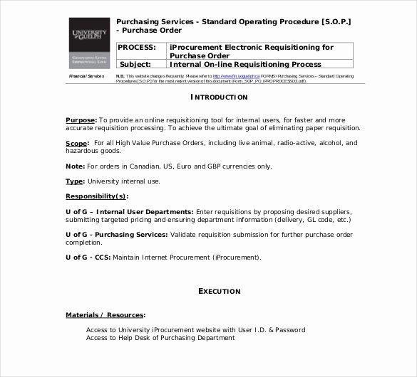 Standard Operating Procedures Template Word Elegant 13 Standard Operating Procedure Templates Pdf Doc