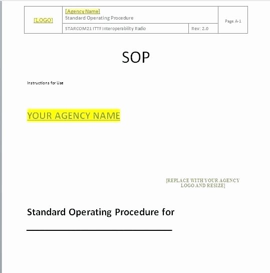 Standard Operating Procedures Template Word Elegant Standard Operating Procedure Template Manual Operation