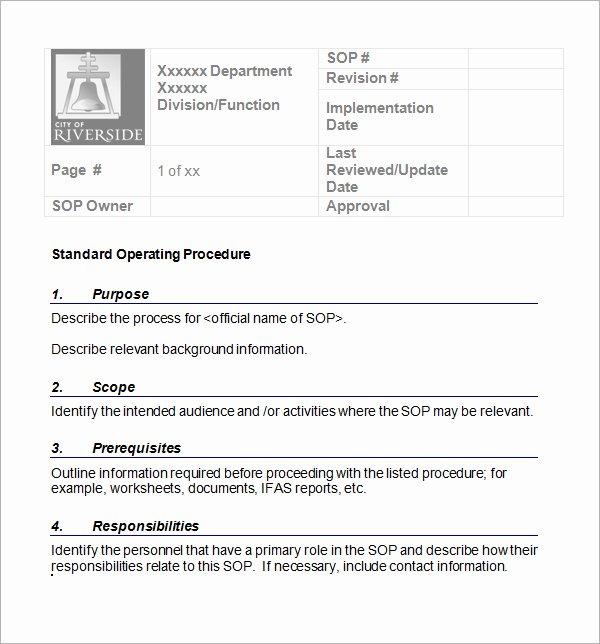 Standard Operating Procedures Template Word Inspirational sop Template Word Best Word Templates