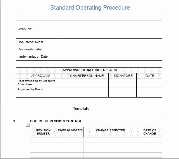 Standard Operating Procedures Template Word New Standard Operating Procedure Template Microsoft Word