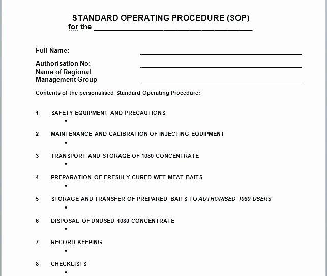 Standard Operating Procedures Template Word New Standard Operating Procedures Template for Procurement