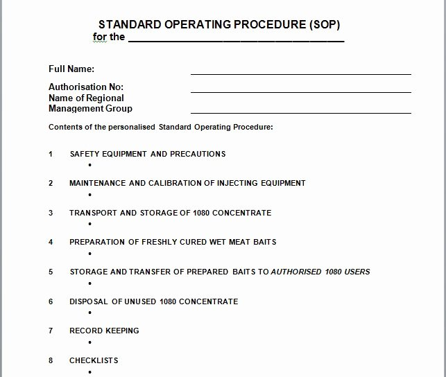 Standard Operation Procedure Template Fresh 37 Best Standard Operating Procedure sop Templates