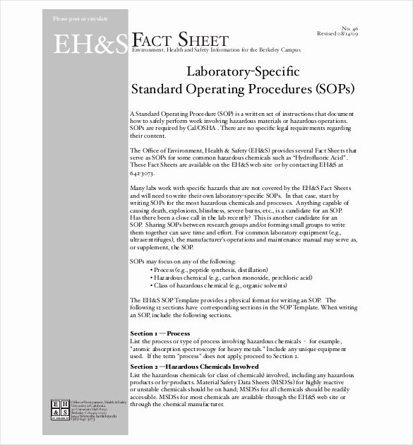 Standard Operation Procedure Template Inspirational 13 Standard Operating Procedure Templates Pdf Doc