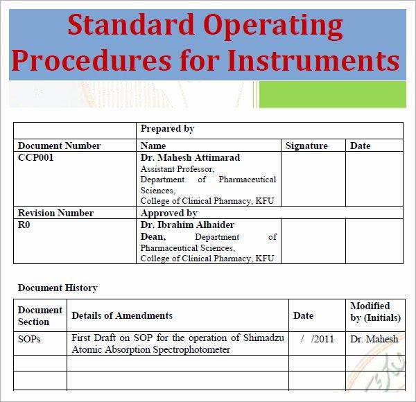 Standard Operation Procedure Template Inspirational Standard Operating Procedure Template Excel Pdf formats