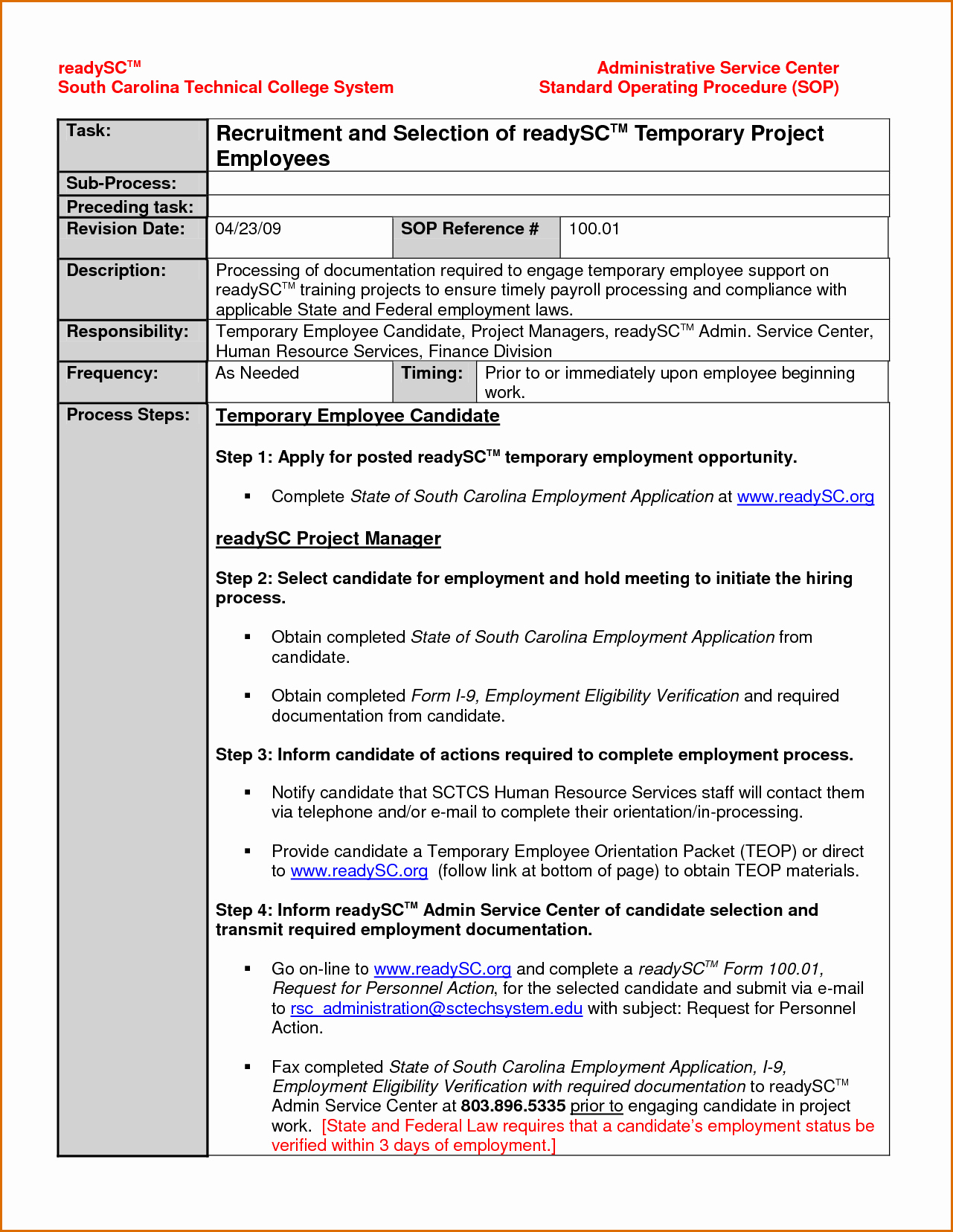 Standard Operation Procedure Template New 14 Standard Operating Procedures Templates