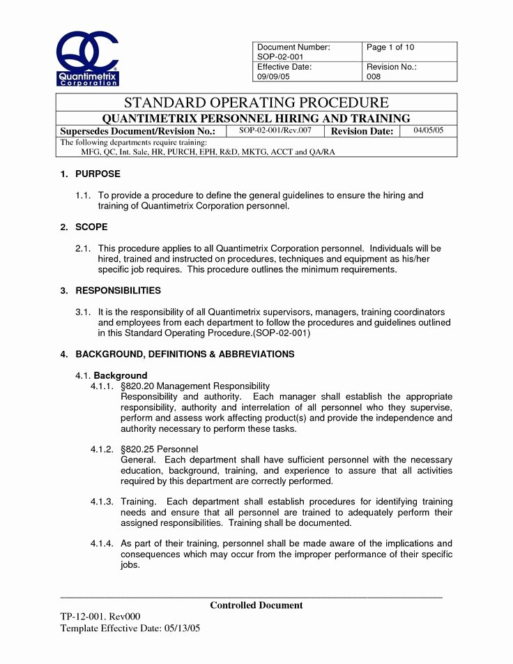 Standard Operation Procedure Template New Standard Operating Procedure Template Beepmunk