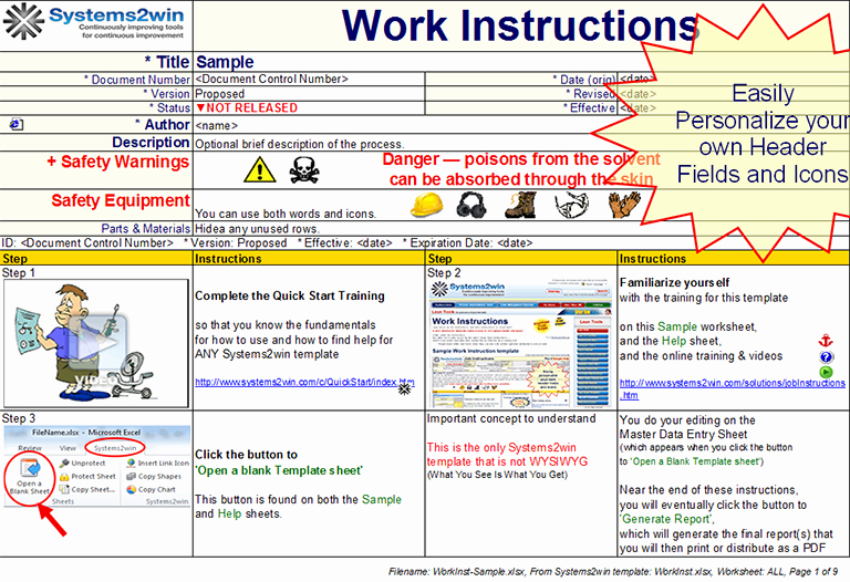 Standard Work Instructions Template Awesome 30 Of Work Instruction Template