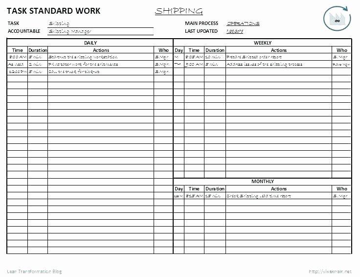Standard Work Instructions Template Awesome Standard Work Instructions Excel Template Standard Work