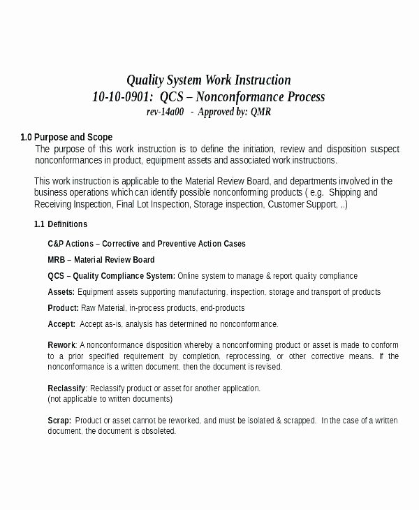 Standard Work Instructions Template Awesome Standardized Work Instruction Template Write Work