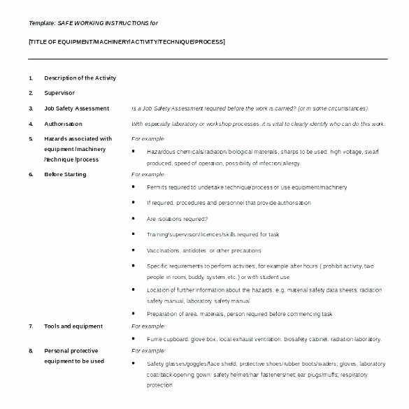 Standard Work Instructions Template Elegant Work Instructions Examples Lean Standard Template Excel