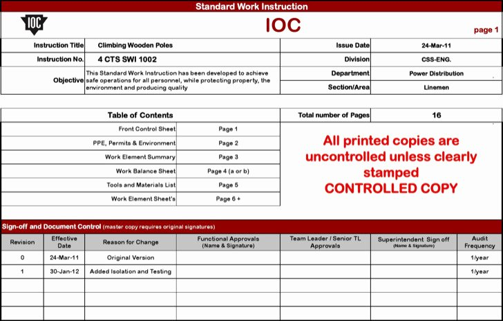 Standard Work Instructions Template New 8 Sample Work Instruction Templates Free Download