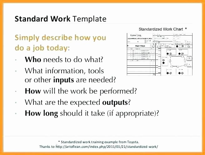 Standard Work Instructions Template New Standard Work Instructions Example