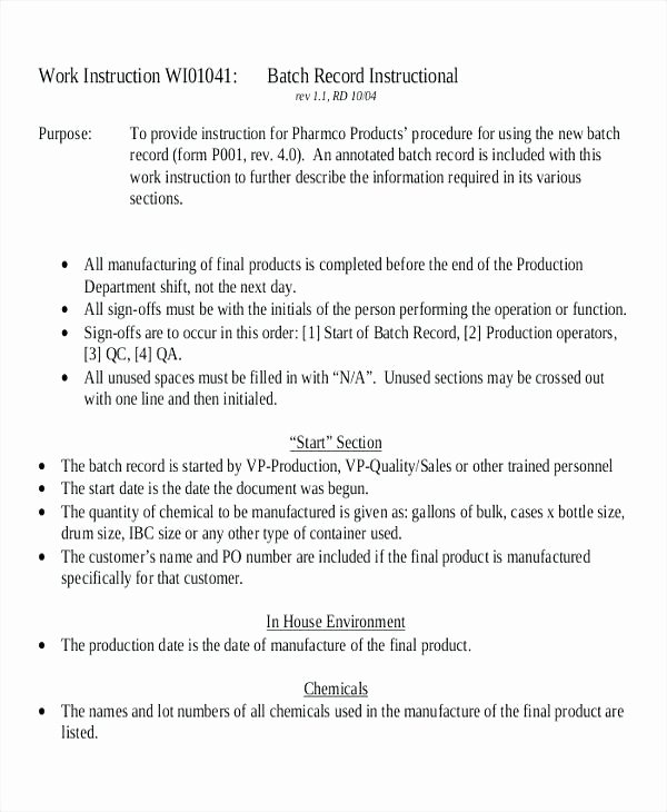 Standard Work Instructions Template New Standard Work Template for Fice Manufacturing