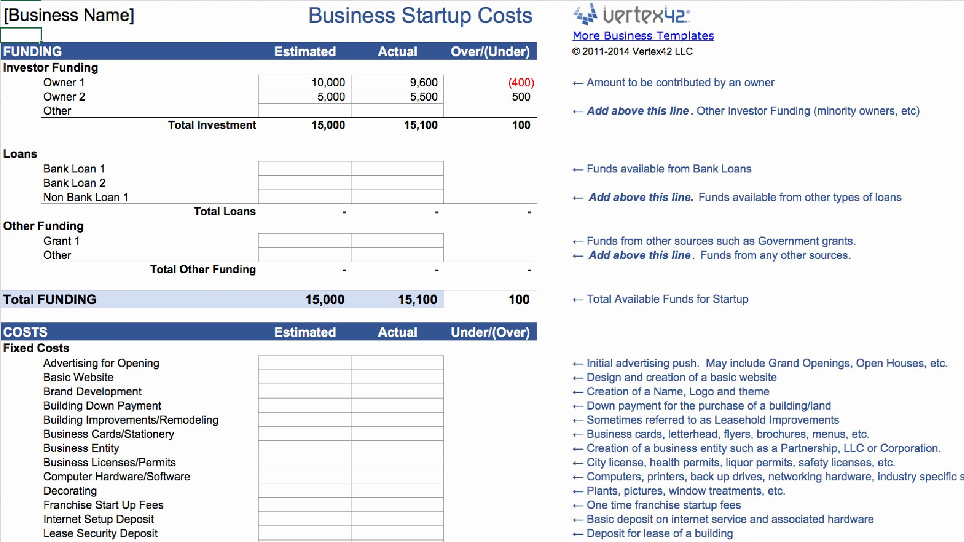 Start Up Budget Template Elegant Business Start Up Bud Template Business Spreadshee