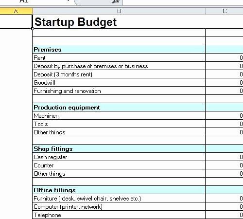 Start Up Budget Template Elegant Startup Bud Template Excel