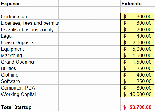 Start Up Expense Template Beautiful Personal Training Financial Planning Bud
