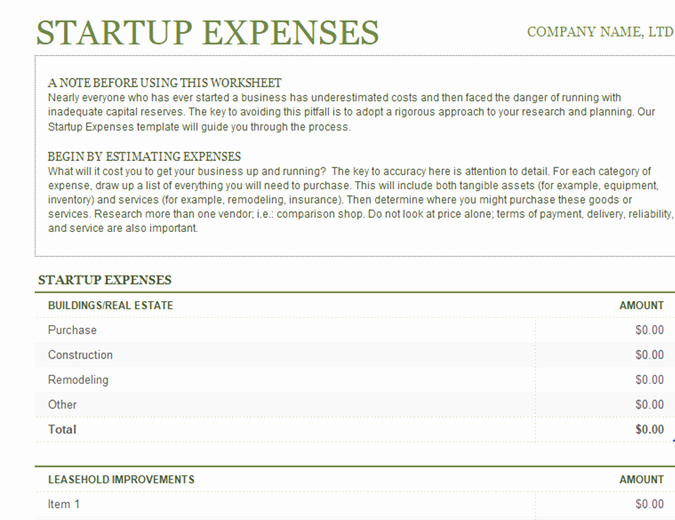 Start Up Expense Template Inspirational Startup Expenses
