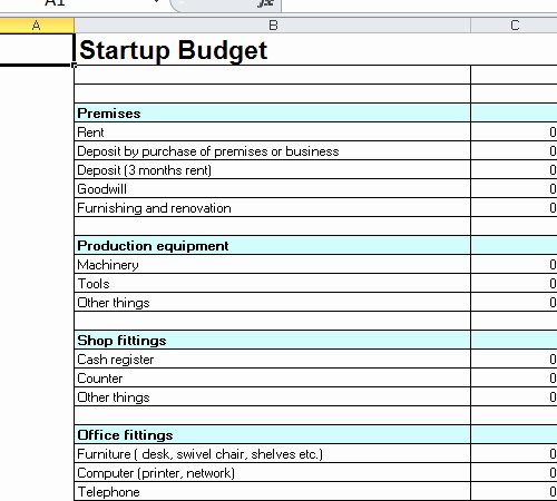 Start Up Expense Template New Startup Bud Template Excel