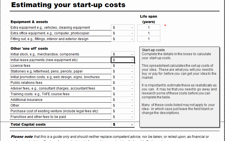 Start Up Expense Template Unique Business Start Up Costs Calculator for Excel