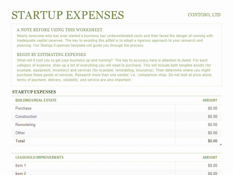 Start Up Expenses Template Beautiful Startup Expenses for Microsoft Excel