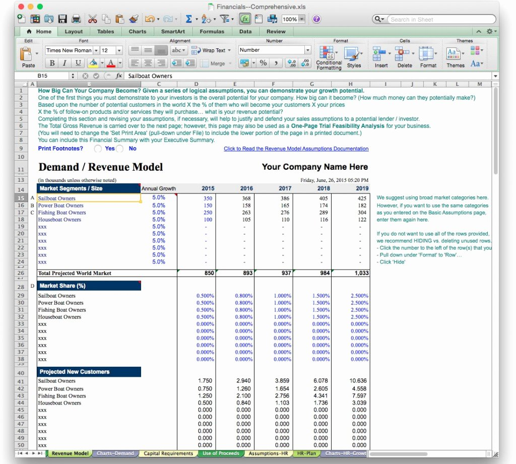 Startup Business Plan Template Excel Beautiful Business Plan Financial Model Template Bizplanbuilder