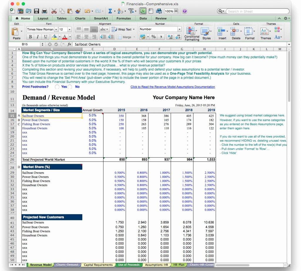 Startup Business Plan Template Excel Beautiful Business Plan Financial Model Template Bizplanbuilder