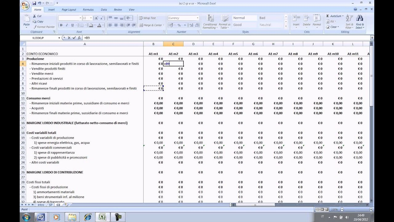 Startup Business Plan Template Excel Luxury Business Plan In Excel Lezione 1