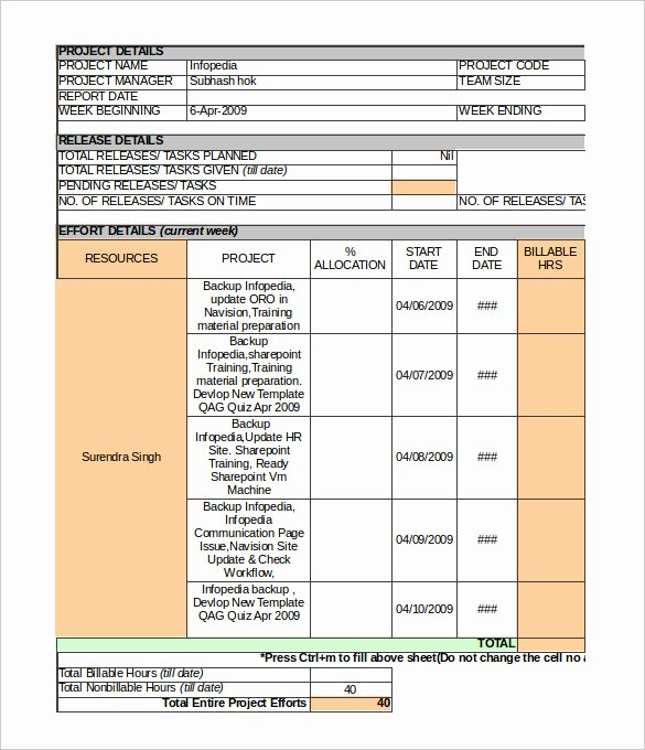 Status Report Template Excel Elegant 33 Weekly Activity Report Templates Pdf Doc
