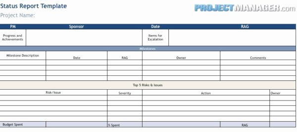 Status Report Template Excel Fresh Status Report Template