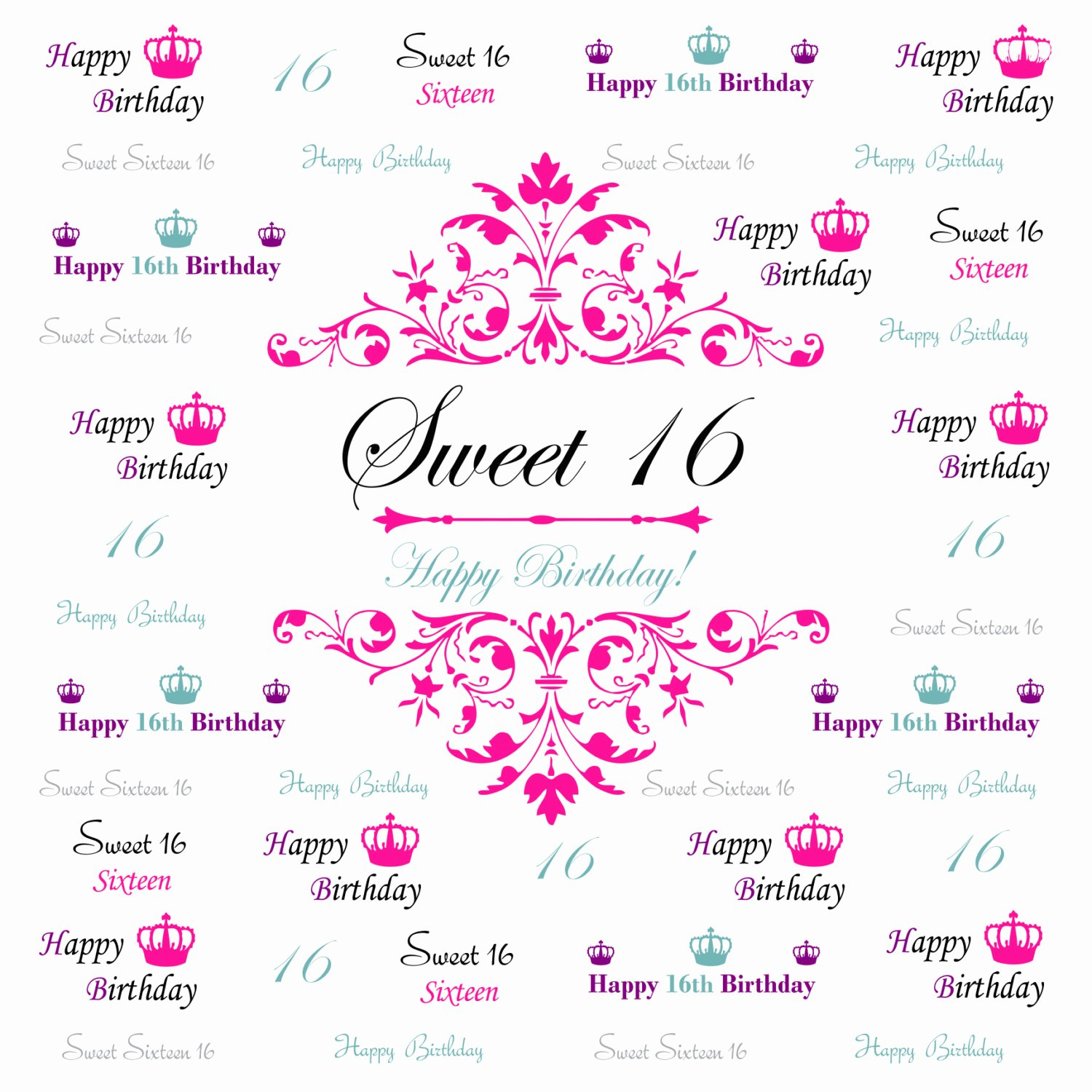 Step and Repeat Template Beautiful Sweet 16 Backdrop event Step and Repeat Backdrop Birthday