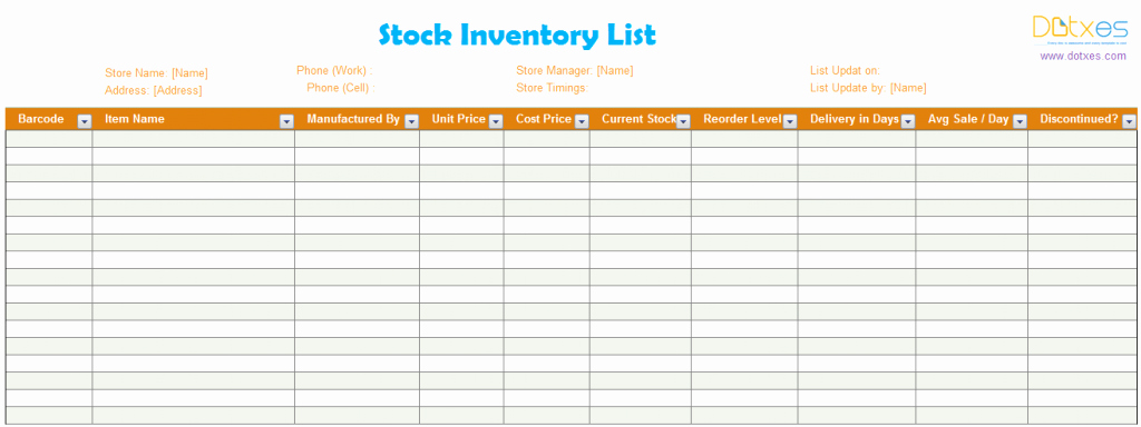 Stock Inventory Excel Template Best Of Inventory List Template Stock Dotxes