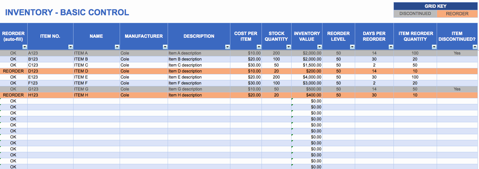 Stock Inventory Excel Template Elegant Free Excel Inventory Templates