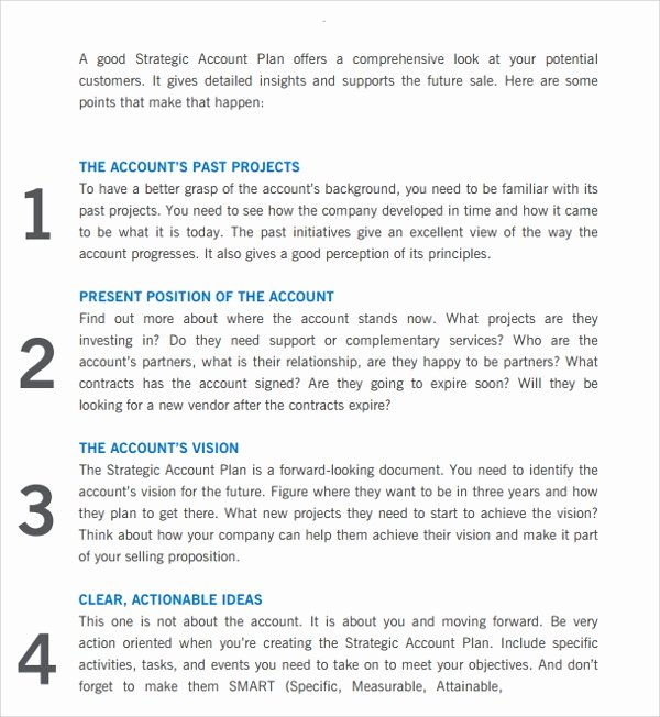 Strategic Account Planning Template Best Of Sample Account Plan Template 9 Free Documents In Pdf Word
