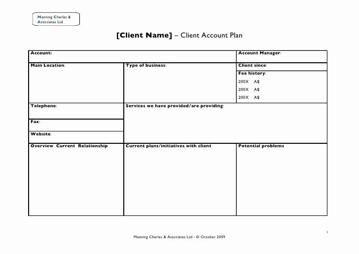 Strategic Account Planning Template Fresh Client Account Plan