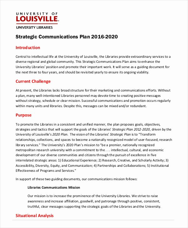 Strategic Communication Plan Template Lovely Strategic Plan Template 10 Free Word Pdf Documents