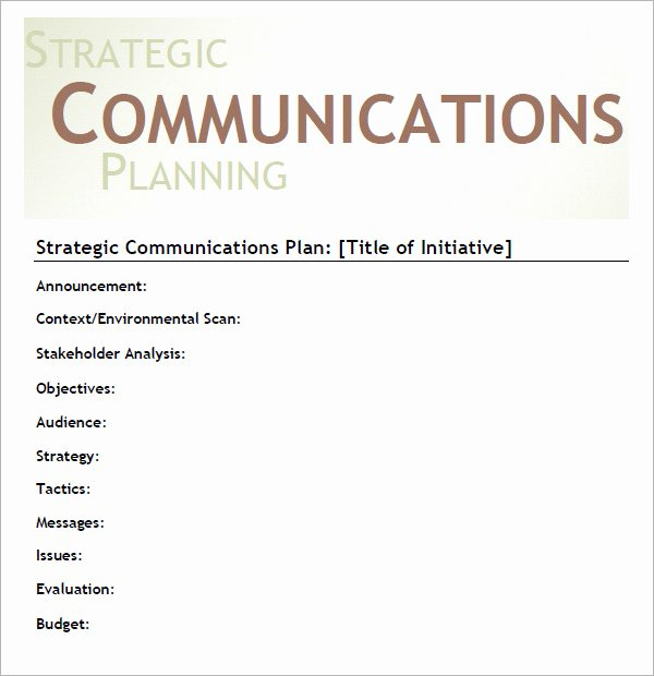 Strategic Communication Plan Template Unique 11 Samples Of Munication Plan Templates