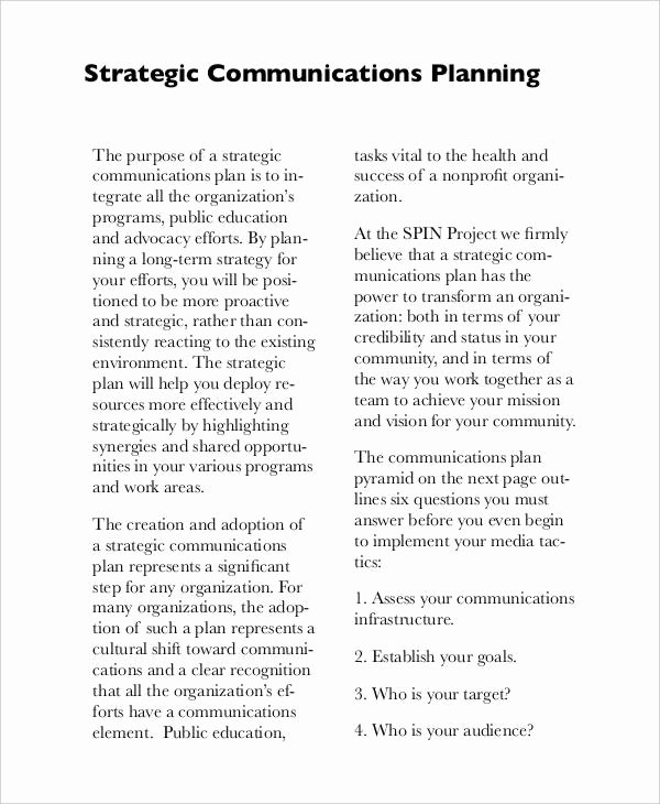 Strategic Communication Plan Template Unique Free Strategic Plan 45 Free Word Pdf Ppt format