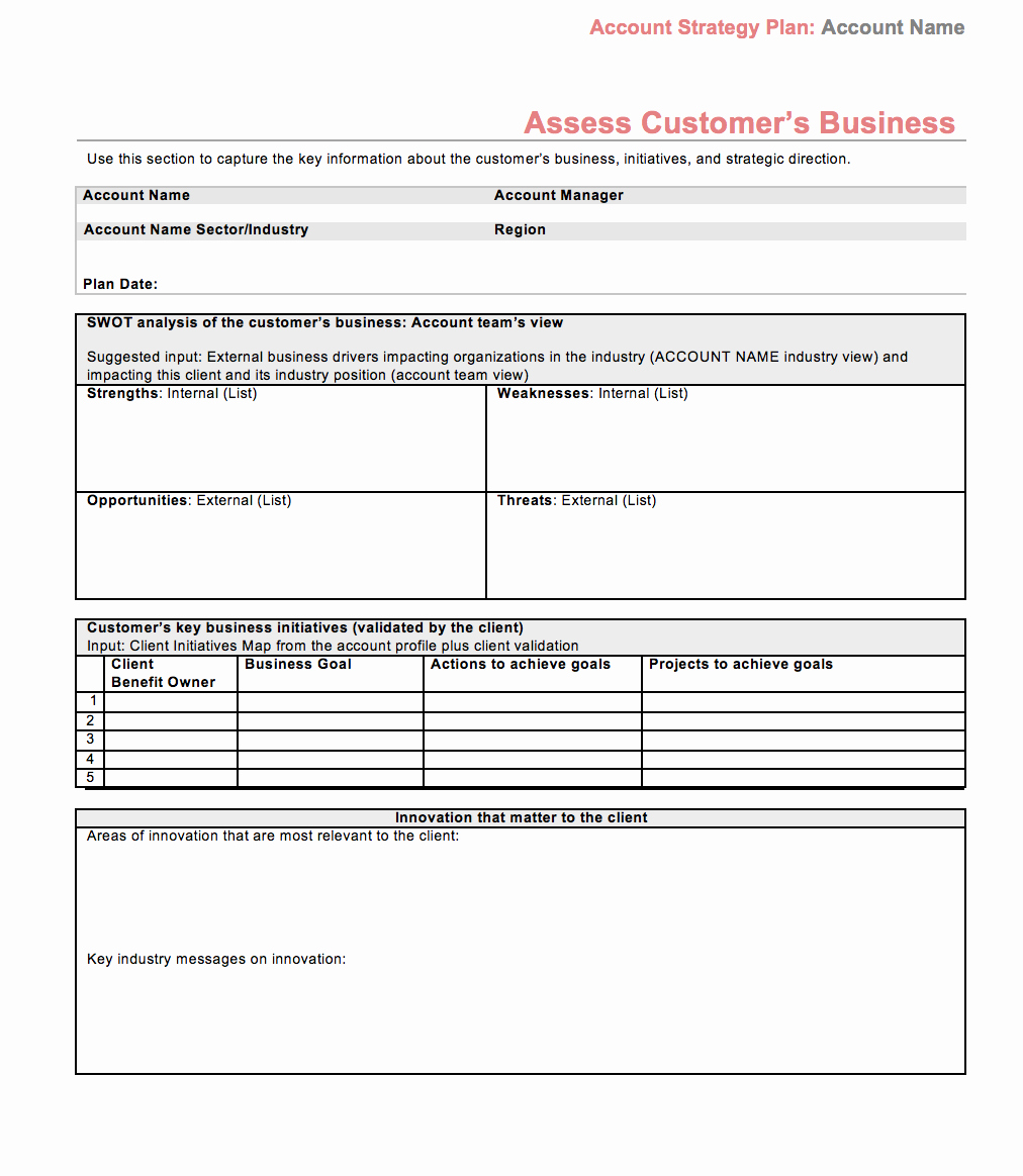 Strategic Sales Plan Template Luxury Strategic Account Plan Template
