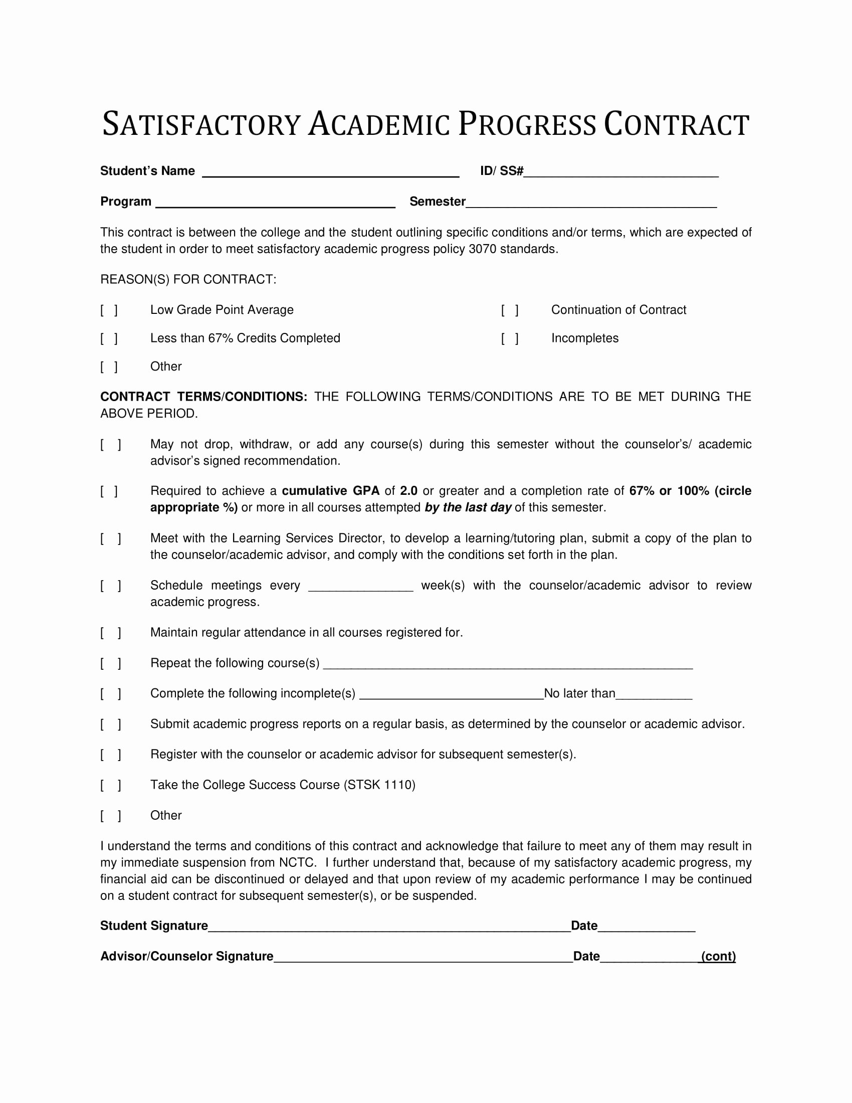 Student Academic Contract Template Awesome 9 Student Academic Contract Template Examples Pdf