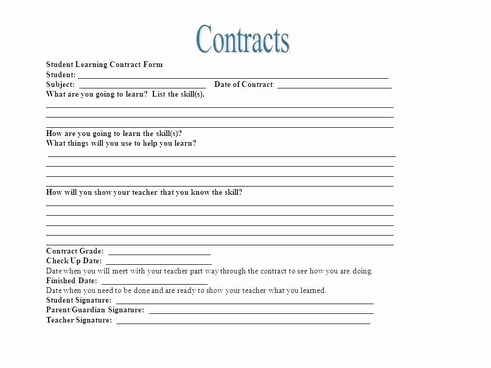 Student Academic Contract Template Best Of Student Learning Contract Template Agreement Nurse Example