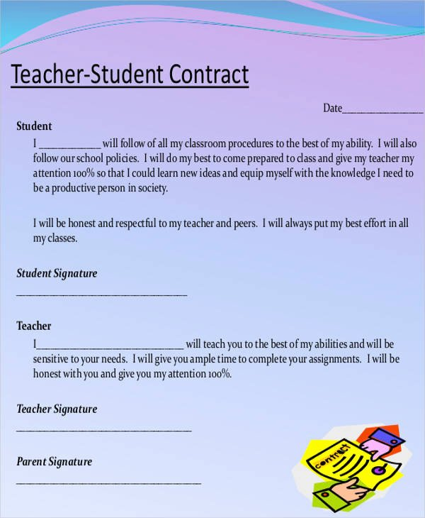 Student Academic Contract Template Elegant 6 Teacher Contract Samples & Templates