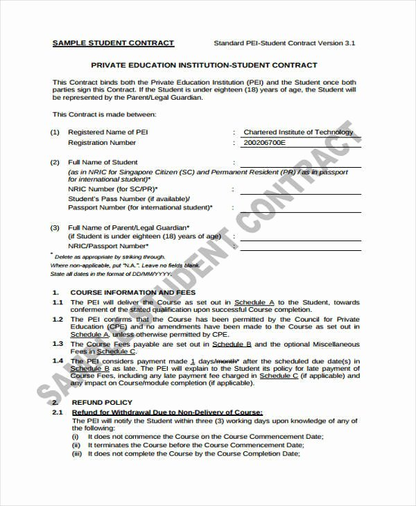 Student Academic Contract Template Fresh 11 Student Contract Samples & Templates