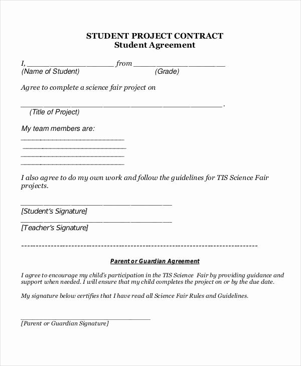Student Academic Contract Template Fresh 6 Project Contract Samples & Templates