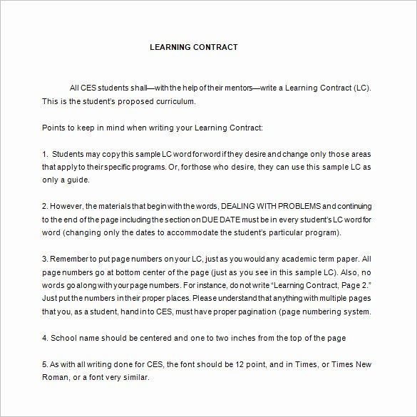Student Academic Contract Template Fresh 7 Learning Contract Templates & Samples Pdf Google