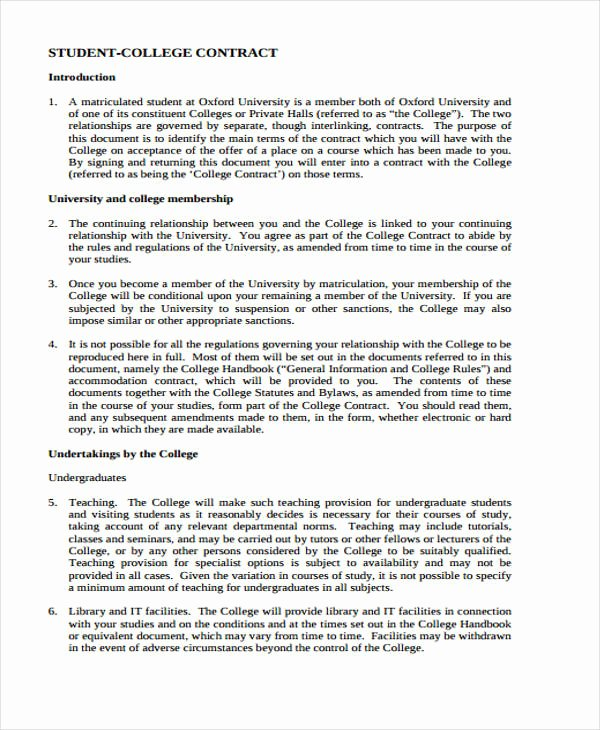 Student Academic Contract Template Inspirational 12 Student Contract Templates Free Sample Example