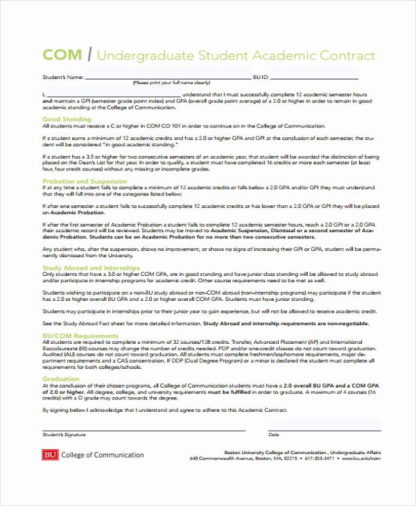 Student Academic Contract Template Lovely 12 Student Contract Templates Free Sample Example