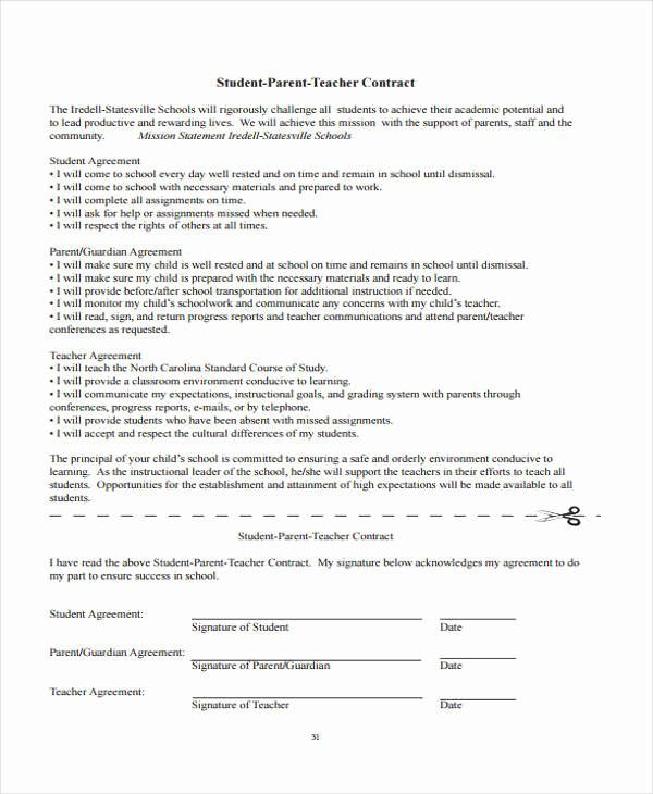 Student Academic Contract Template Lovely 9 Teacher Contract Templates