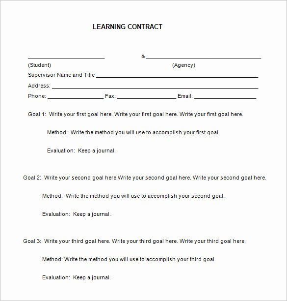 Student Academic Contract Template Luxury 6 Learning Contract Templates & Samples Pdf Doc